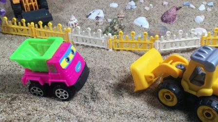 工程车故事:轧道机的贝壳不见了,是谁捣乱拿走了贝壳