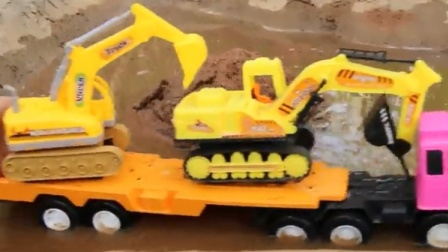 宝宝工程车 平板卡车运载挖掘机去给翻斗车装沙子.avi