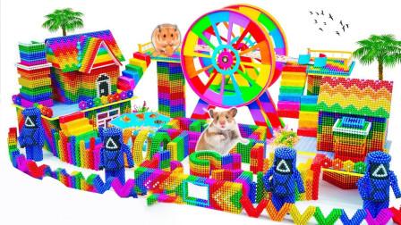 为小动物拼搭漂亮的游乐园迷宫玩具