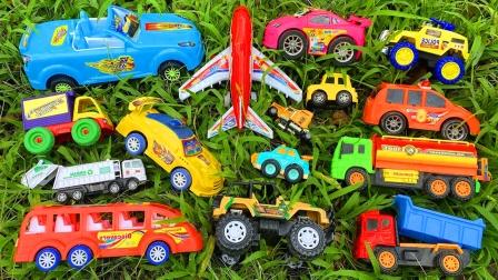 儿童益智玩具:翻斗车、警车、环卫车、公交车、洒水车、吉普车!