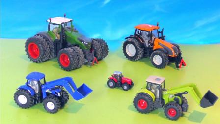 不同颜色和尺寸的拖拉机在农场工作