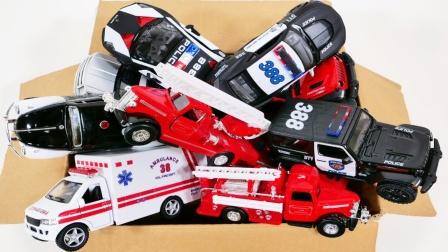 箱子中的警车救护车消防车玩具介绍