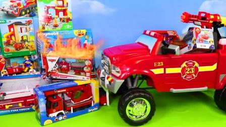 儿童益智玩具:认识各种消防玩具,消防车、轮船、直升机、吊车!