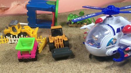工程车故事:怪兽破坏了工程车的家,飞机帮助了他们