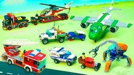 儿童益智玩具:消防车、赛车、直升机、大拖车、警车、救护车!
