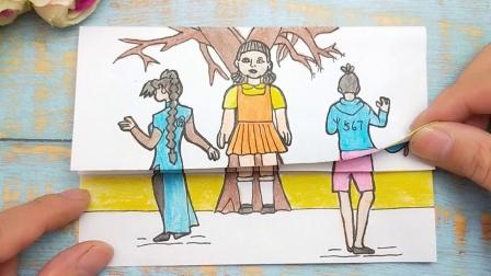 一幅梅花十三和伍六七闯关木头人游戏,三次挑战变化太搞笑