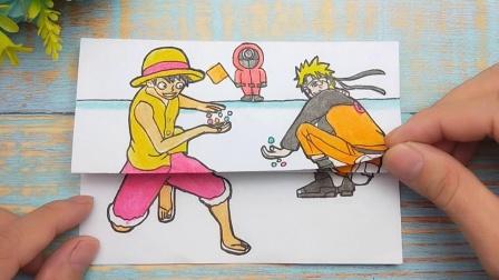 比较有趣手绘玻璃珠比赛游戏,路飞和鸣人玩起弹珠,谁是胜利者!