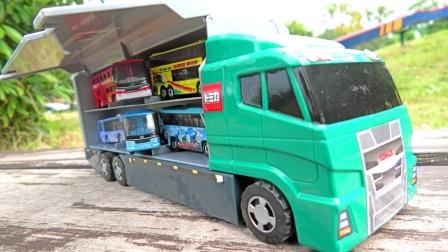 绿色大卡车收集公园里的巴士车和餐车玩具