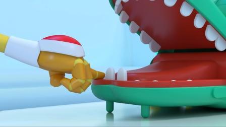 布鲁可把手伸进鳄鱼嘴里,按压鳄鱼的牙齿