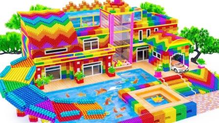 用巴克球建造一座带鱼池和滑梯的大房子