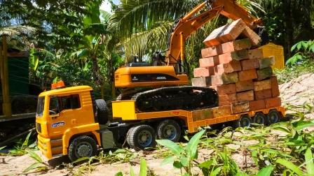儿童益智玩具:挖掘机、叉车清理砖块,翻斗车运输建造游乐园!