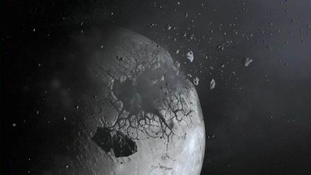 月球被撞出大洞,嵌入巨量诡异物质,把地球物质吸到天上