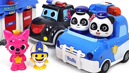 银行取款机的钱被小偷偷走了,婴儿熊猫巴士警车出动追赶小偷