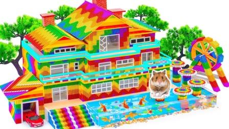 巴克球搭建三层大房子和游乐园