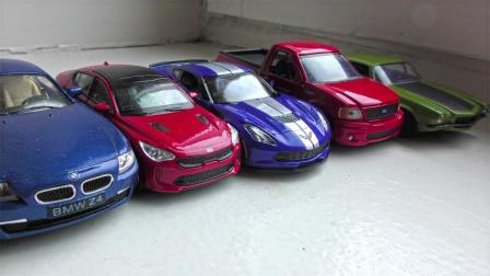 介绍不同颜色的合金赛车和越野车