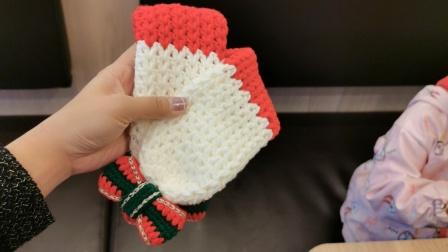 【芸妈手作A215】详细圣诞围巾新手毛线编织钩针手工儿童围巾教学视频