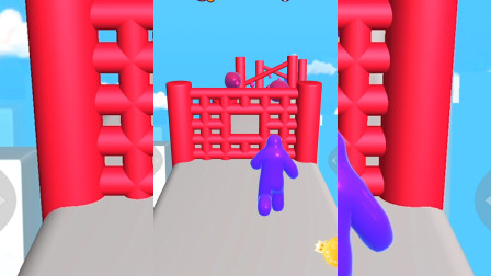 小游戏:果冻人跑酷 躲过障碍物 拿到最大的十分获胜