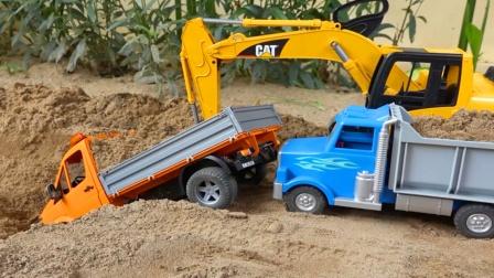 儿童益智玩具:挖掘机救援事故小货车,翻斗车、皮卡车修建道路!