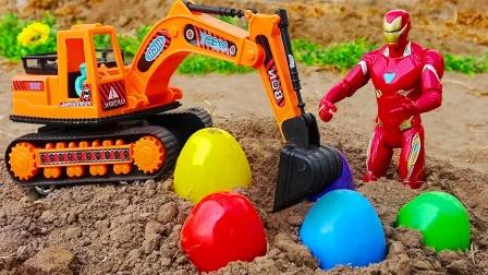 儿童益智玩具:导弹车抢夺奇趣蛋,漫威英雄、挖掘机救援翻斗车!