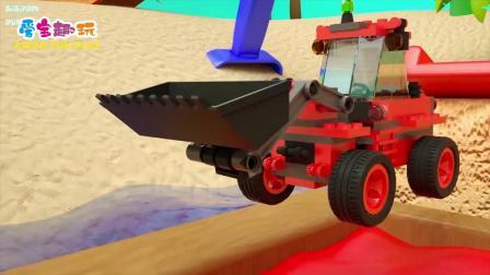 少儿卡通动画 五个彩色的大炮 工程车 小汽车 挖掘机上色