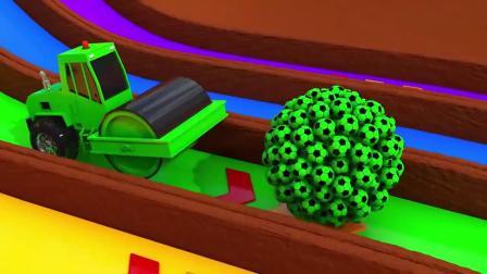 少儿卡通动画 五辆车子撞击不同颜色的足球 推土机 卡车