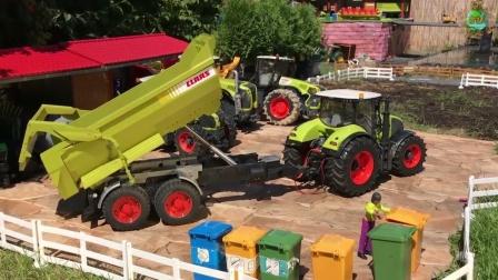 各种工程车在农场作业和工作