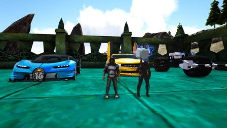 方舟生存进化:赛车比赛 黄金雪佛兰跑车VS蝙蝠侠摩托车