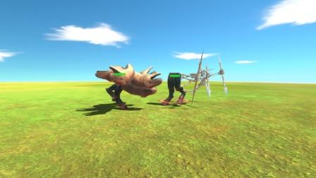 动物战争:六个恐龙头VS六条拿长矛手臂 猜猜谁会赢