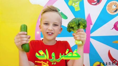 小男孩跟妈妈挑战蔬果汁