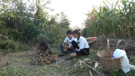 小明和小丫野外打红薯窑,2小时后刨开烧红的泥土,满满的农乡味