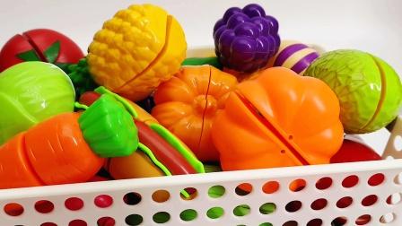 一篮子水果蔬菜切切乐玩具 赶紧来看看最喜欢吃什么吧