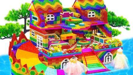 彩色巴克球为玩偶搭一座大房子