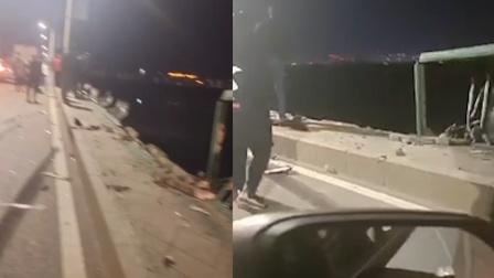 黑龙江齐齐哈尔一大货车冲破护栏坠江 警方:单方事故,司机身亡