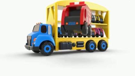 汽车总动员 运输车运载萌萌的木头玩具警车消防车冰激凌车.avi