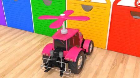 汽车玩具:拖拉机变身直升机,拯救被困的小汽车.avi