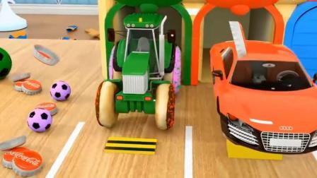 汽车玩具:小拖拉机的轮胎是用甜甜圈做的,警车的轮胎是西瓜做的.avi