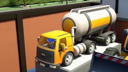 汽车总动员 认识水箱卡车推土机翻斗卡车压路机挖掘机水泥搅拌车.avi