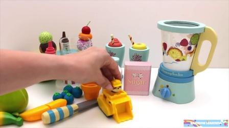 最好的学习颜色视频爪巡逻冰激凌玩具搅拌机用木制的维可牢玩具学习水果