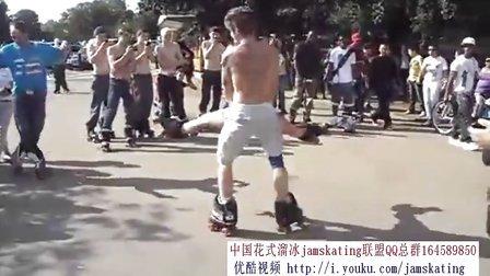 路边公园jamskating花式溜冰小聚会旱冰双排轮滑轮舞