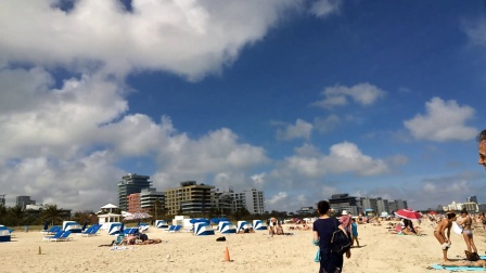 【6岁半】2-9哈哈一家人在迈阿密南海滩漫步,喂海鸟配乐video_131115