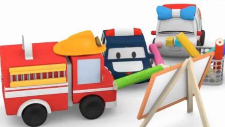 汽车玩具卡通:小警车 消防车 救护车 冰淇淋车在画画比赛.avi
