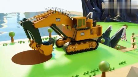 工程车视频 超级挖掘机和吊车翻斗车大卡车一起修建灯塔.avi