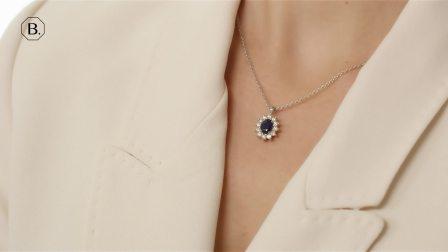 白金椭圆形蓝宝石项链