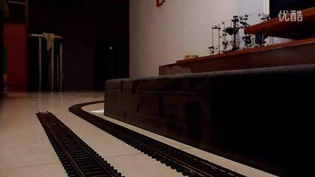 建设型蒸汽机车模型牵引客货混编列车倒跑