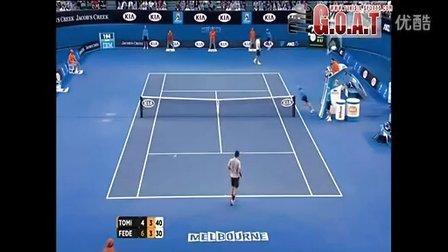 费德勒2013澳网R3vs托米奇比赛精彩片断
