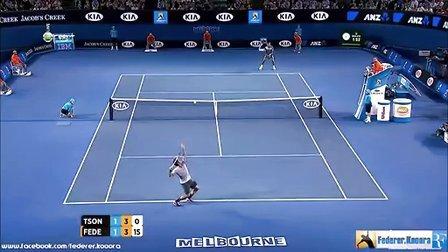 费德勒2013澳网8强vs松加精彩片断加长版