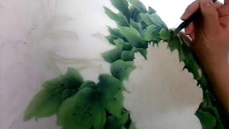 """沙力绢画【""""浅色牡丹""""(步骤四):""""叶子:暗面的分染""""】13年3月13日"""