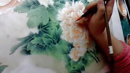 """沙力绢画【""""浅色牡丹""""(步骤七):""""花瓣的分染②"""" 】13年3月20日"""
