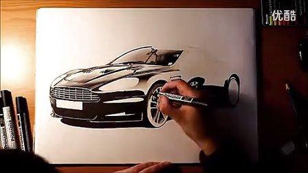 阿斯顿·马丁Aston Martin DBS Volante马克笔精绘效果图