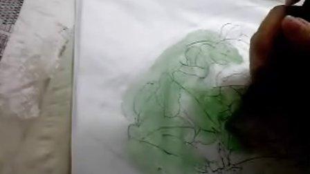 """沙力绢画【""""深 牡丹""""(2)""""顶色 """" 】"""